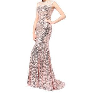 Mermaid Sequin Rose Gold Evening Gown